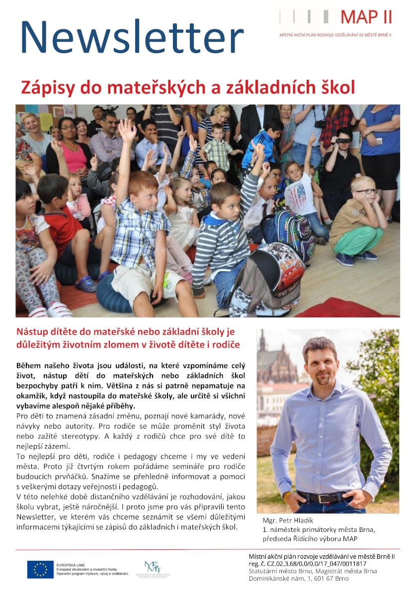 Newsletter MAP Brno II_zápisy do MŠ a ZŠ